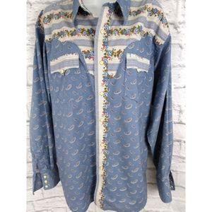 Retro Wrangler Floral Paisley Western Shirt XL